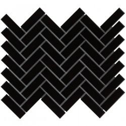 Mosaïque de grès cérame Paris Herringbone 7,3x2,3cm Black brillant et mat