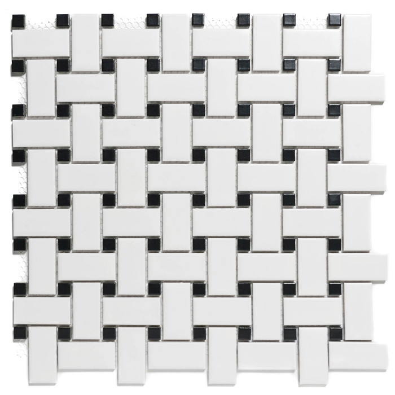Mosaïque de grès cérame cabochons Paris Basket Wave Noir et blanc