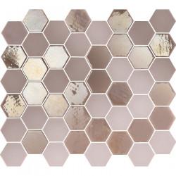 Mosaïque de grès cérame hexagone Valencia 4,9x4,3cm Pink brillant et mat