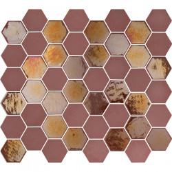 Mosaïque de grès cérame hexagone Valencia 4,9x4,3cm Burgundy brillant et mat