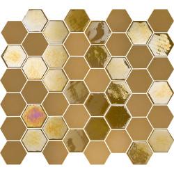 Mosaïque de grès cérame hexagone Valencia 4,9x4,3cm Mustard brillant et mat