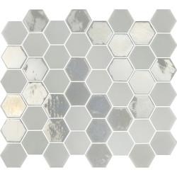 Mosaïque de grès cérame hexagone Valencia 4,9x4,3cm White brillant et mat