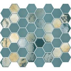 Mosaïque de grès cérame hexagone Valencia 4,9x4,3cm Turquoise brillant et mat