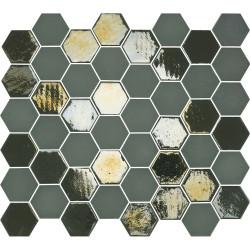 Mosaïque de grès cérame hexagone Valencia 4,9x4,3cm Khaki brillant et mat