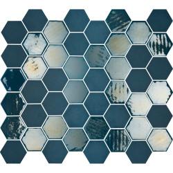 Mosaïque de grès cérame hexagone Valencia 4,9x4,3cm Blue brillant et mat