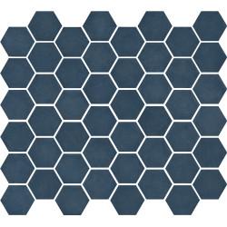 Mosaïque de grès cérame hexagone Valencia 4,9x4,3cm Blue mat