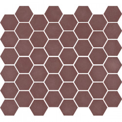 Mosaïque de grès cérame hexagone Valencia 4,9x4,3cm Burgundy mat