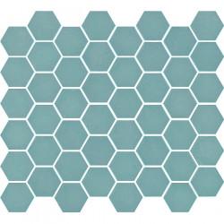 Mosaïque de grès cérame hexagone Valencia 4,9x4,3cm Turquoise mat