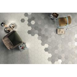 Carrelage grès cérame effet ciment brut Mate Terra hexagone (4 couleurs, un décor)