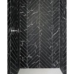 Carrelage grès cérame effet marbre Mate Marmo hexagone (2 couleurs, un décor)