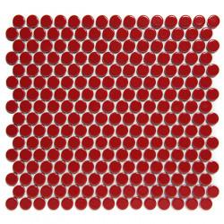Mosaïque de grès cérame ronde diamètre 1,9cm Venice Pennyground Red brillant