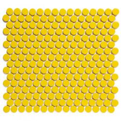Mosaïque de grès cérame ronde diamètre 1,9cm Venice Pennyground Yellow brillant