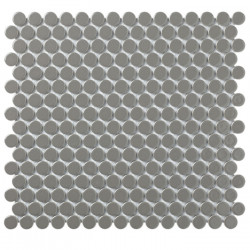 Mosaïque de grès cérame ronde diamètre 1,9cm Venice Pennyground Dark Grey brillant