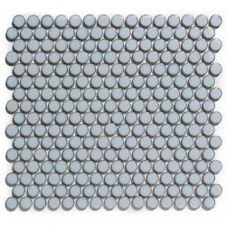 Mosaïque de grès cérame ronde diamètre 1,9cm Venice Pennyground Blue Grey Edge brillant