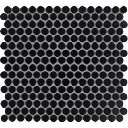 Mosaïque de grès cérame ronde diamètre 1,9cm Venice Pennyground Black brillant