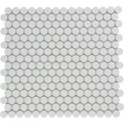 Mosaïque de grès cérame ronde diamètre 1,9cm Venice Pennyground White brillant