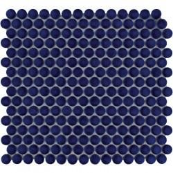 Mosaïque de grès cérame ronde diamètre 1,9cm Venice Pennyground Cobalt Blue brillant