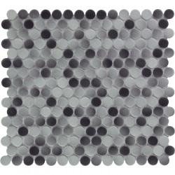 Mosaïque de grès cérame ronde diamètre 1,9cm Venice Pennyground Brown brillant
