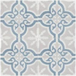 Carreau de terrazzo motif 4 carreaux gris, bleu et blanc TROUVILLE TU 07.10.15