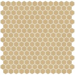 Mosaïque Stone hexagone 2,6x2,2cm Terre Moyen 571 sur trame nylon 33,3x33,3cm