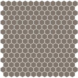 Mosaïque Stone hexagone 2,6x2,2cm marron pâle 563 sur trame nylon 33,3x33,3cm