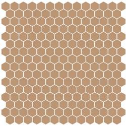 Mosaïque Stone hexagone 2,6x2,2cm terre cuite 562 sur trame nylon 33,3x33,3cm