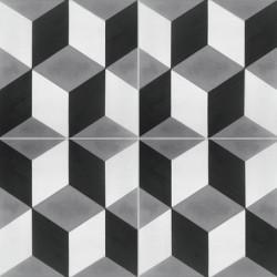 4 carreaux de ciment coloré motif 3D cube noir, gris et blanc T50