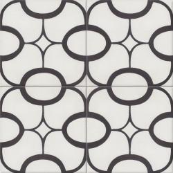 Carreau de ciment coloré motif 4 carreaux blanc et noir JOHN 0110