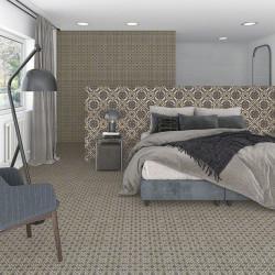 Carrelage grès cérame effet carreau ciment motif gris, gris foncé et jaune POP Tile Carnegie 15x15cm
