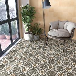 Carrelage grès cérame effet carreau ciment motif gris, gris foncé et jaune POP Tile Marquee 15x15cm