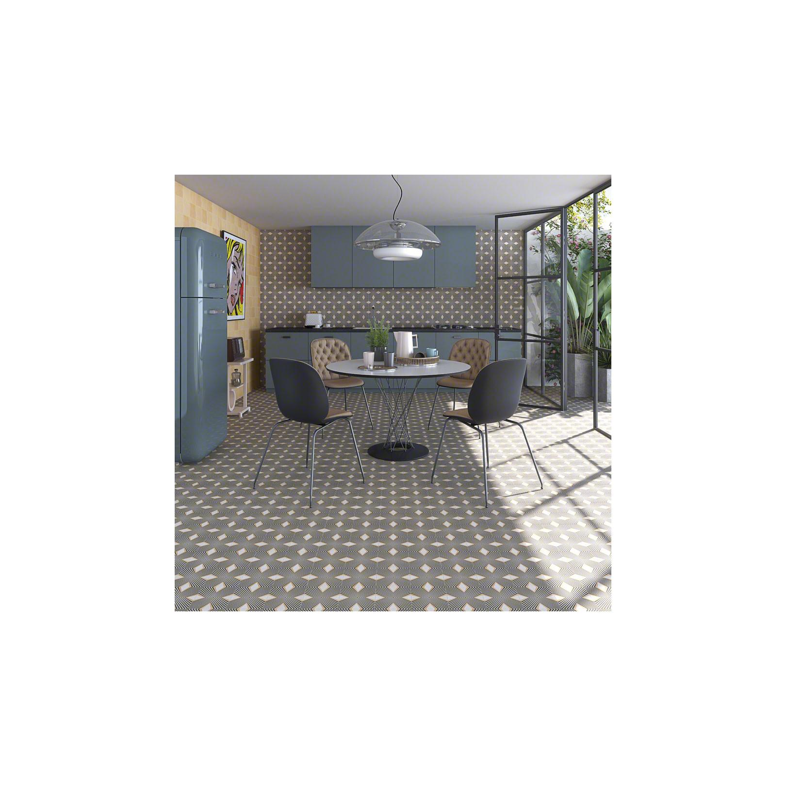 Carrelage grès cérame effet carreau ciment motif blue foncé et beige POP Tile Saville 15x15cm
