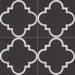 1 Carreau de ciment coloré motif noir et blanc Jade 01.10
