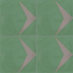 4 Carreaux de ciment coloré motif vert et gris Pie 18.17