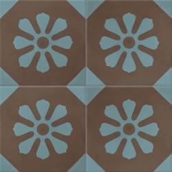 Carreau de ciment coloré marron et bleu FLEUR 20.23