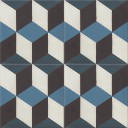 Carreau de ciment coloré noir, blanc et bleu T50 01.10.20.30
