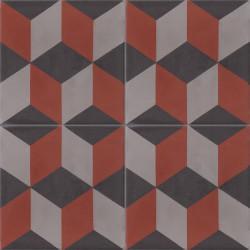 Carreau de ciment coloré marron, gris et noir T50 16.27.01