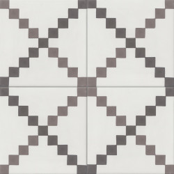 Carreau de ciment coloré blanc et gris TWIST 10.27.32