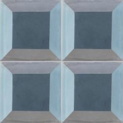 Carreau de ciment coloré bleu et gris PERSE A 06.15.30.32.33