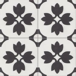 Carreau de ciment coloré noir et blanc TREFLE 10.01