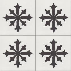 Carreau de ciment coloré noir et blanc AUBIGNY 10.01