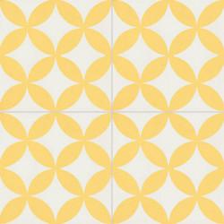 Carreau de ciment coloré jaune et blanc C11 10.08