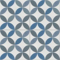 Carreau de ciment coloré bleu, gris et blanc CO 10.39.40.15.20