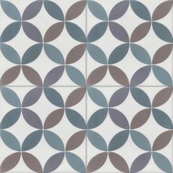 Carreau de ciment coloré bleu, gris, marron et blanc CO 10.39.40.27.33