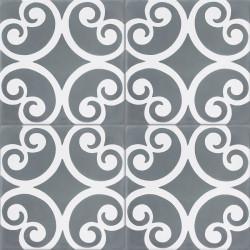 Carreau de ciment coloré blanc et gris BASIL 10.33