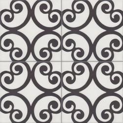 Carreau de ciment coloré blanc et noir BASIL 10.01