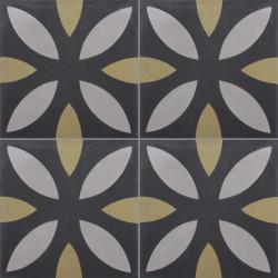 Carreau de ciment coloré noir, gris et vert NOA 01.22.27
