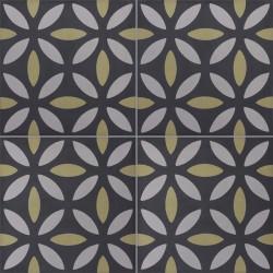 Carreau de ciment coloré noir, gris et vert NOA B 01.22.27