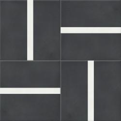 Carreau de ciment coloré noir et blanc TRIO 01.10