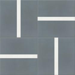Carreau de ciment coloré gris et blanc TRIO 40.10
