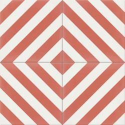 4 Carreaux de ciment coloré rouge et blanc AZUR 10.14